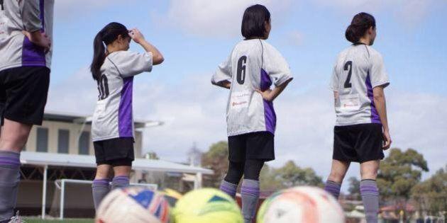 Players from the Maribyrnong Swifts womens football club. Photograph: Nasya Bahfen