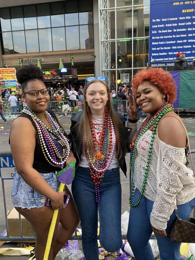 Brionna Long, Madisson Ball, and Kayla Short at Mardi Gras, March 2020. Photo: Madisson Ball