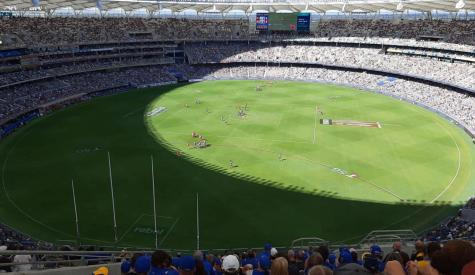 Photo of Optus Stadium, Perth, during a game between the West Coast Eagles and the Gold Coast Suns in 2021.