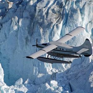 plane over glacier