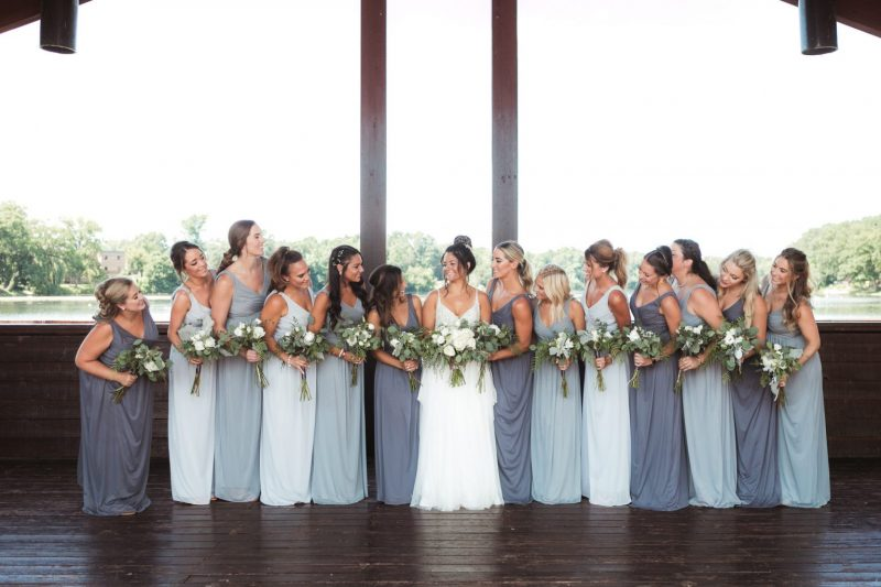 Big bridal party group photo from summer wedding in Paw Paw, MI.