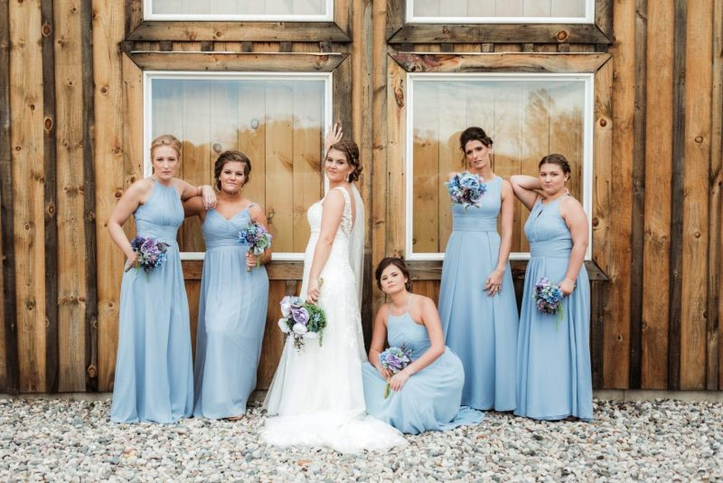 Bride and bridesmaids from wedding at A Little Patch of Heaven in Carson City, MI.