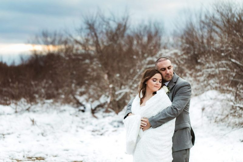Winter wedding couple in Mt. Pleasant, MI.