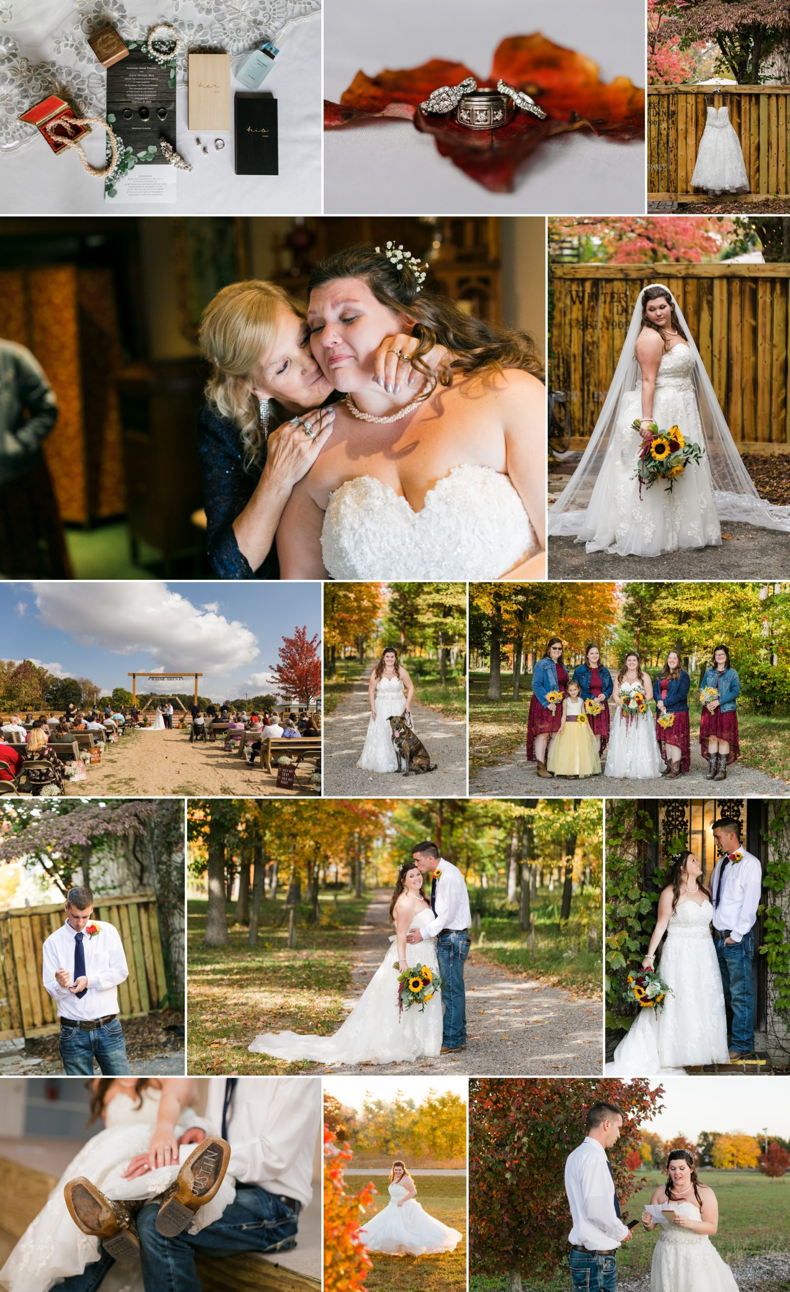 Collage of Courtney and Justin's wedding day on October 10, 2020 in Greenville, MI.