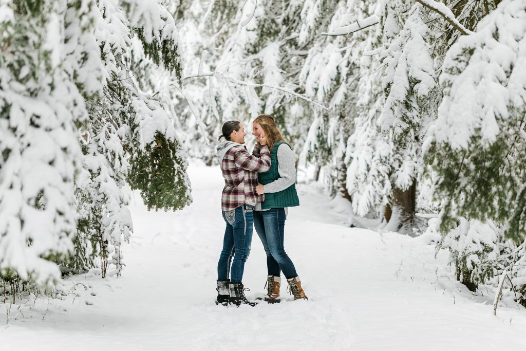 Winter engagement session in northern Michigan.