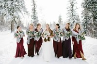 Burgundy Winter Bridesmaid Dress with Fur Stoles ...
