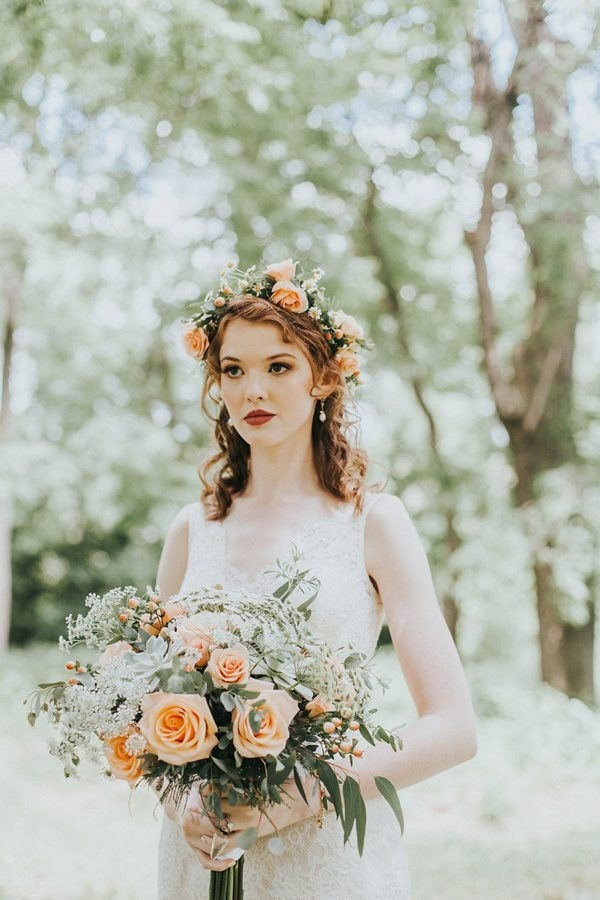 coral bridal bouquet and