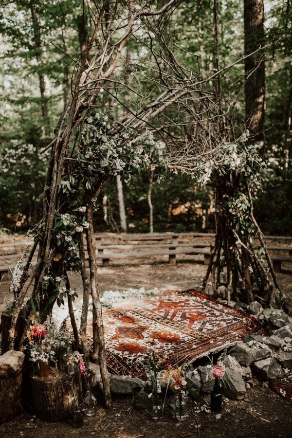 Wedding Ceremony in Prince William Forest Park  Wedding Inspiration Board  Junebug Weddings