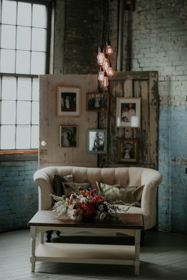 Rustic Industrial Glam Reception Seating Area And Photo