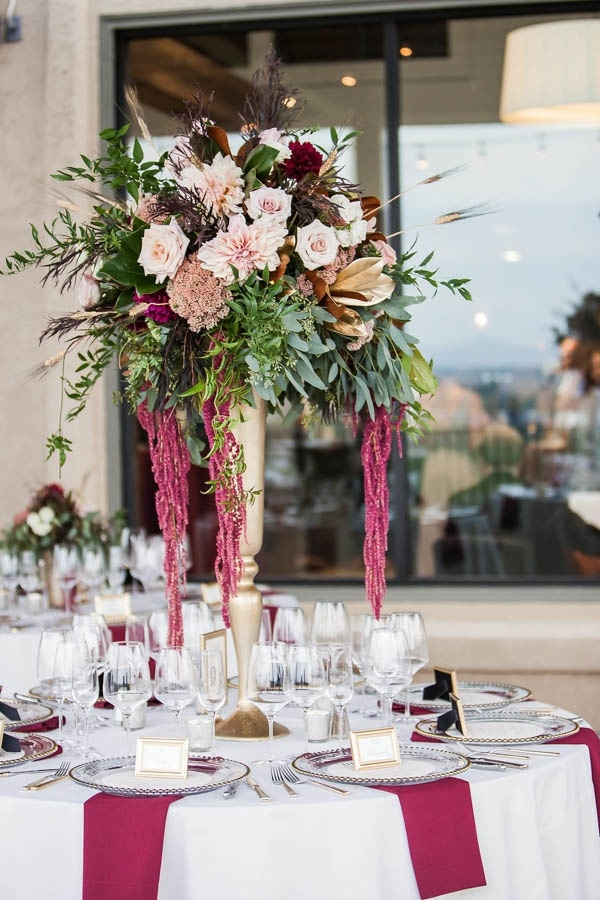Champagne and Burgundy Wine Country Wedding Floral Arrangement  Wedding Inspiration Board