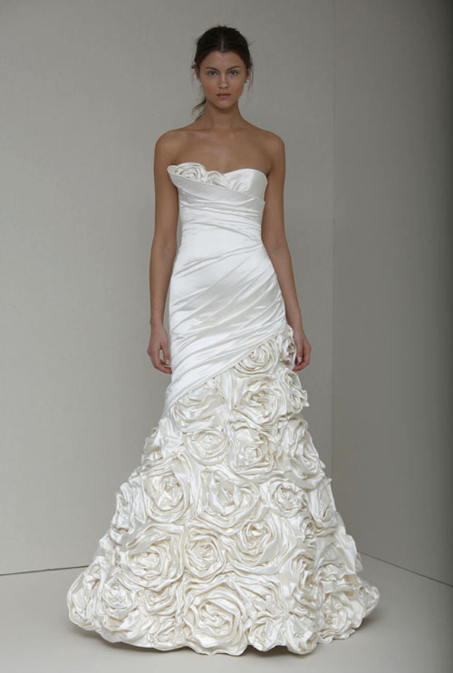 floral wedding dress by monique lhuillier