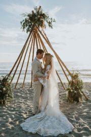 breezy cream and beige beach wedding