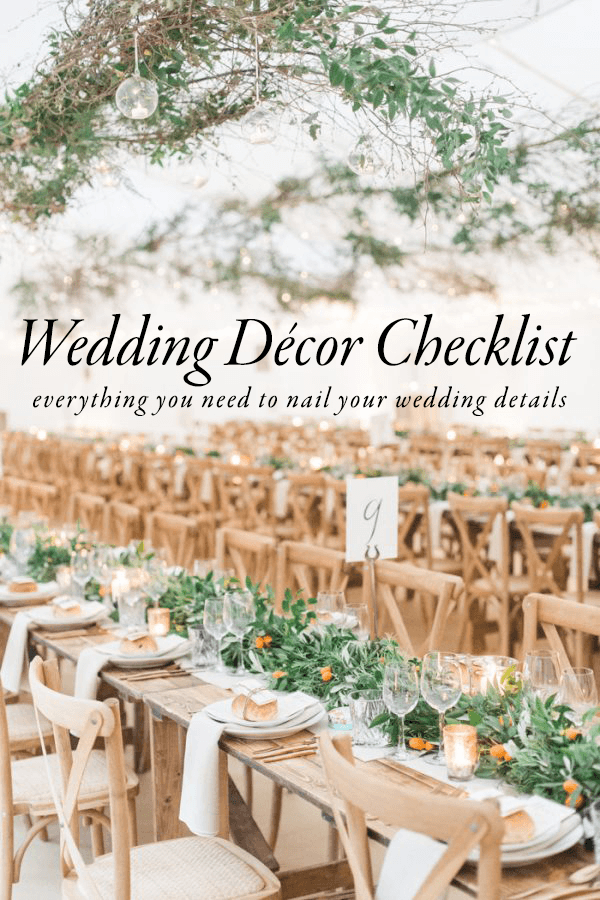 Use This Wedding Dcor Checklist to Help You Nail Every