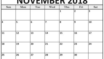 November Calendar 2018 In Pdf Word Excel Printable Template