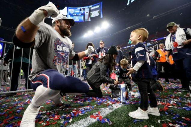 2019 2 3 New England Patriots win their 6th Superbowl in 18 years. They celebrate it with family. 4