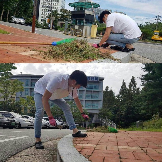 Jung Il-woo cleaning at the Seocho Senior Center. 1.JPG