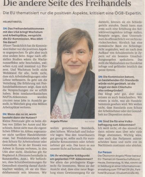 Interview mit Angela Pfister in den Salzburger Nachrichten vom 15.5.2014