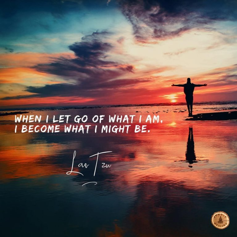 affirmation of the week for jungle healing, beautiful sunset with a person standing beneath, their arms outspread, affirmation by Lao Tzu 'when I let go of what I am, I become what I might be.'