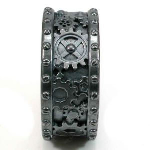 Steampunk Black Silver Gear Ring - Steam punk Wedding Ring
