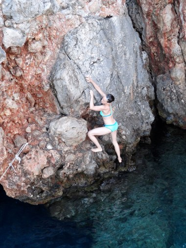 There's only one thing to do when you see some rocks jutting out of the water...