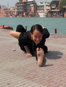 Marichyasana on the Ganga. Photo by Nikhil