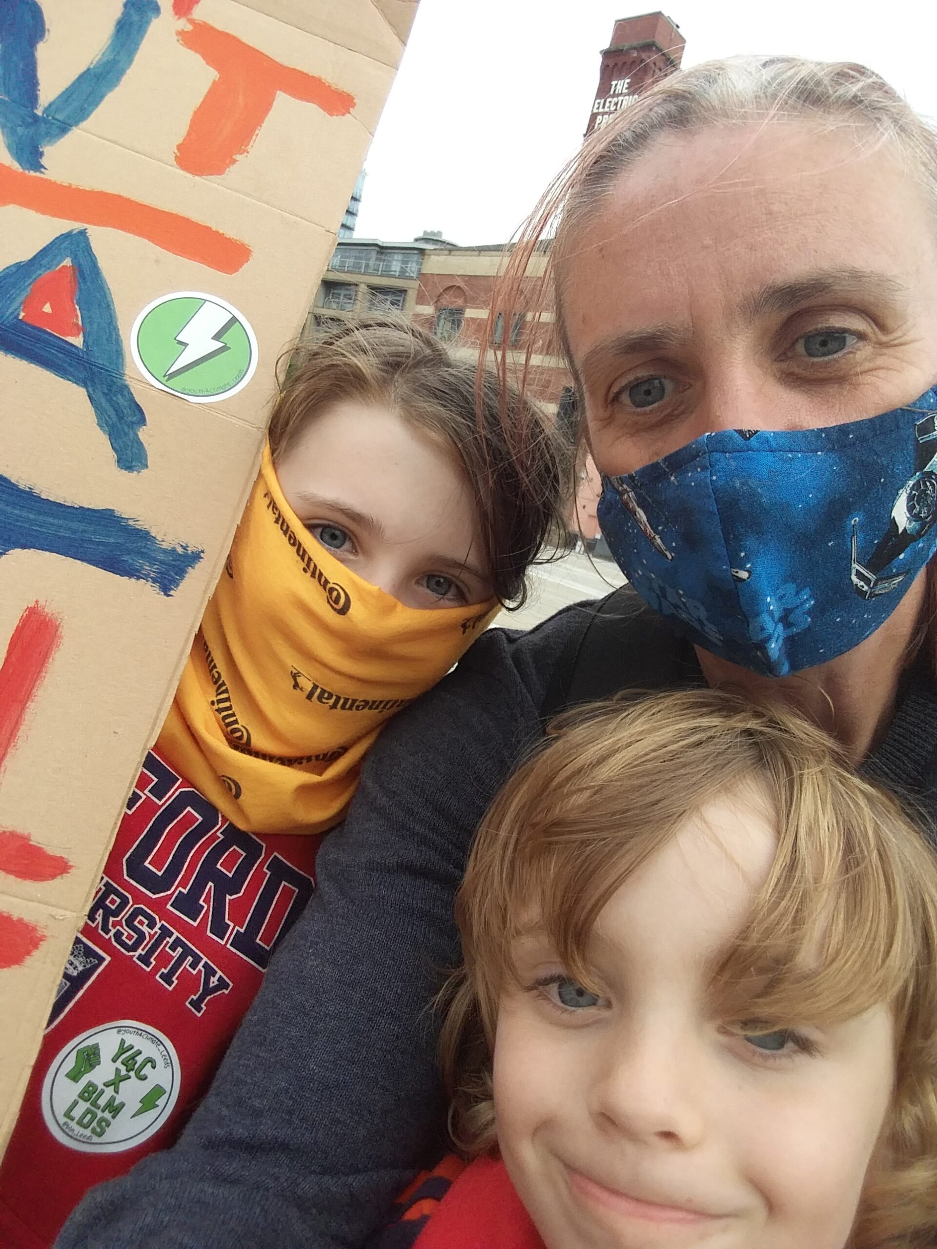 Family at climate protest