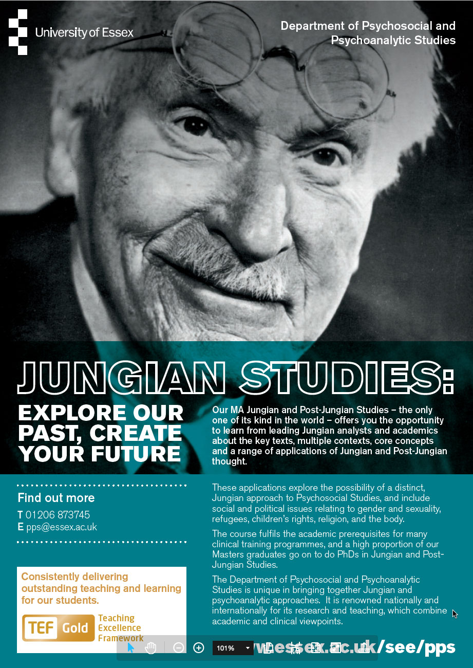 Jungian and Post-Jungian Studies to be taught in 2020-2021