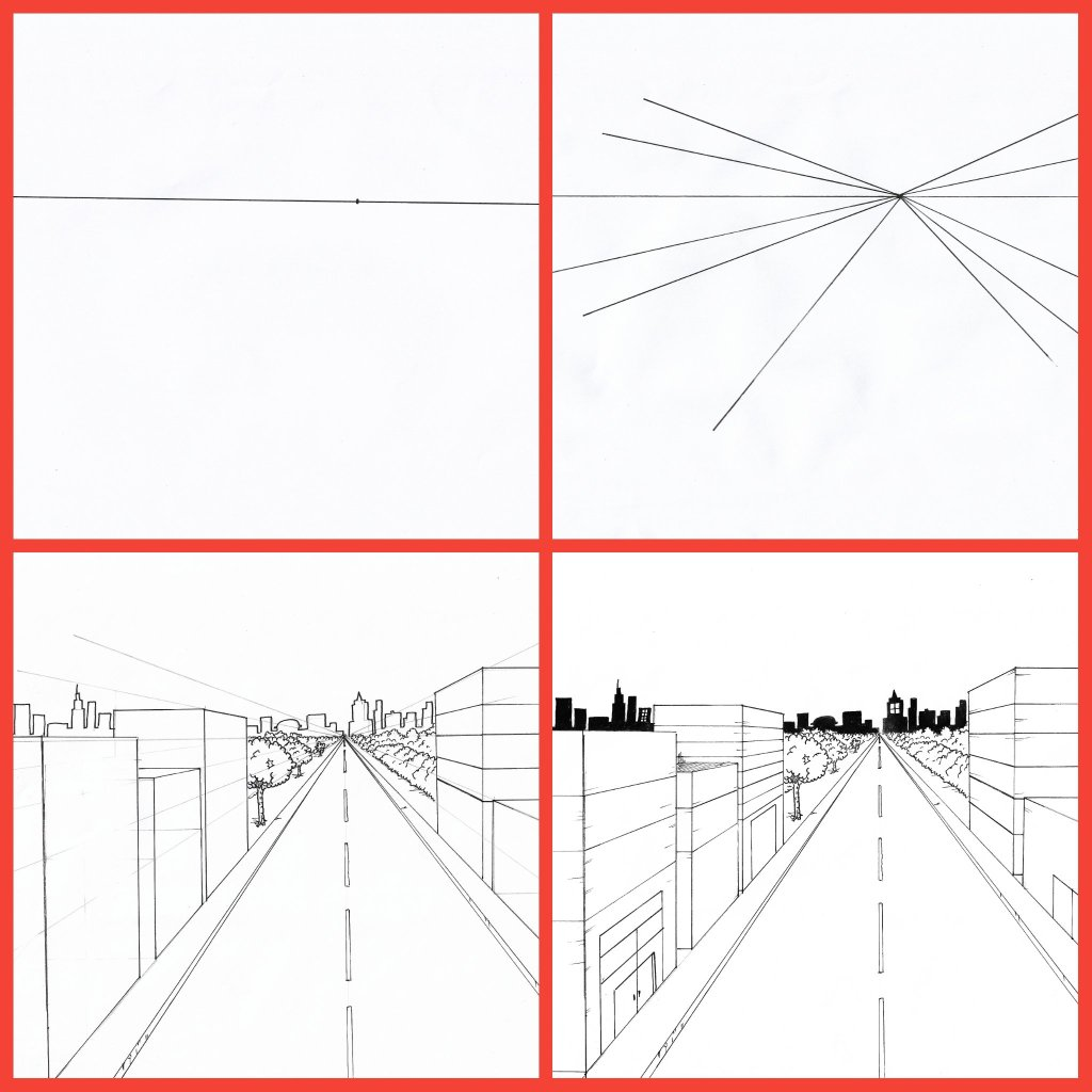 collage reference of the 4 steps for drawing a city in 1 point perspective