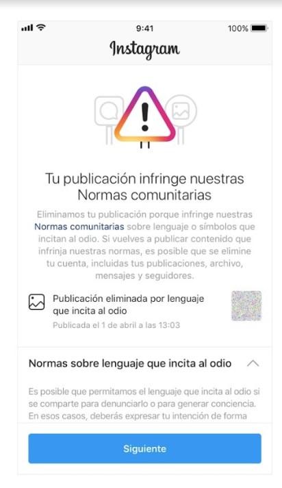 Mensaje de publicación eliminada por Instagram
