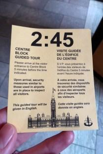 Ticket für die kostenlose Führung im Centre Block