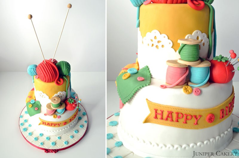 Craft knitting sewing cake