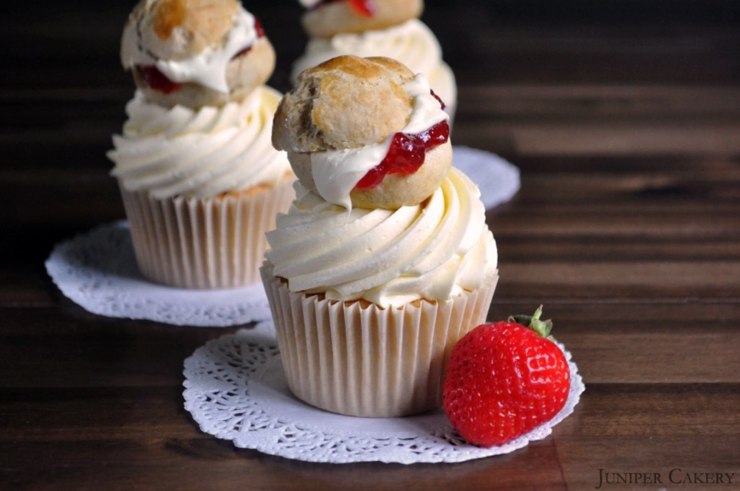 Strawberries & Cream Scone Cupcake