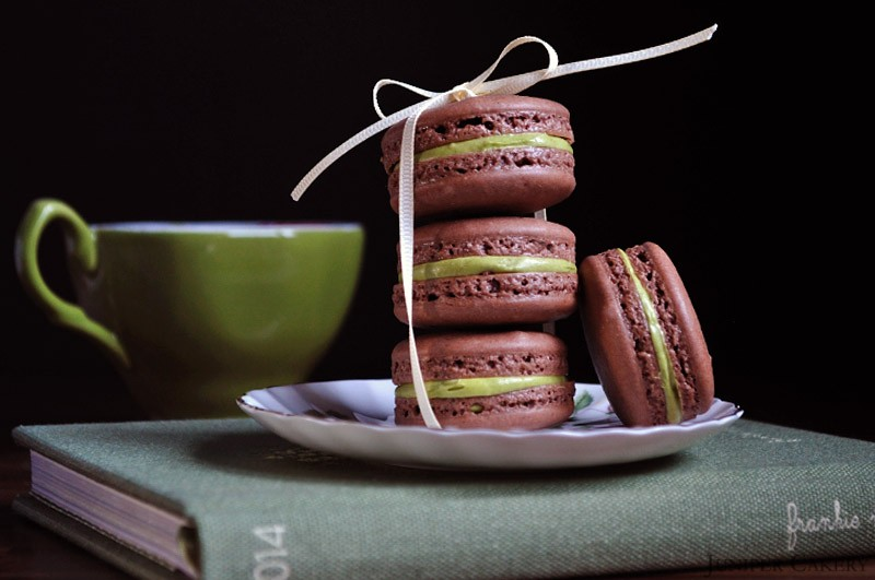 Chocolate and Creme de Menthe Macarons by Juniper Cakery