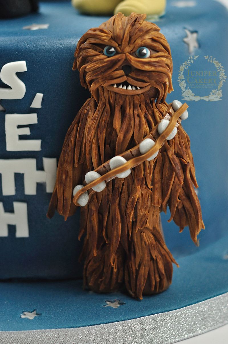 Star Wars cake with modeling chocolate Chewbacca figure by Juniper Cakery