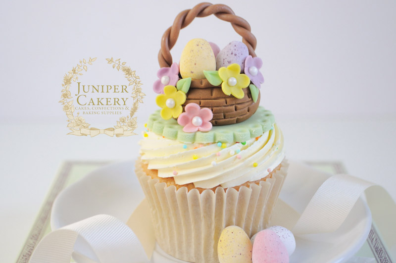 Sweet Easter basket cupcake tutorial by Juniper Cakery