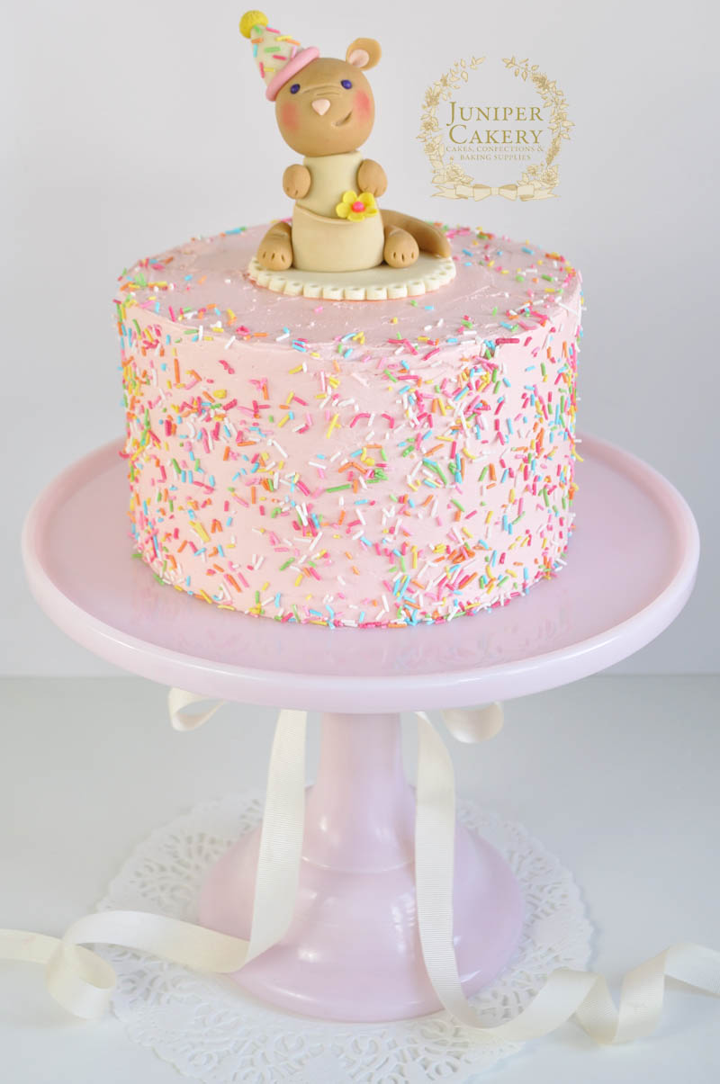 Pink rainbow party cake with kangaroo figure by Juniper Cakery