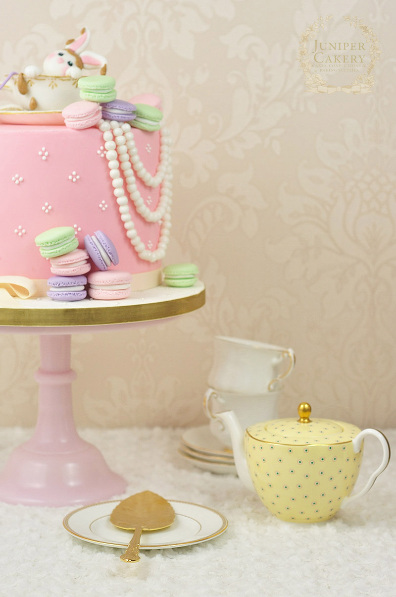 Vintage themed tea and macarons cake with fondant rabbit by Juniper Cakery