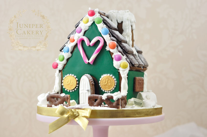 Candy decorated simple gingerbread house by Juniper Cakery