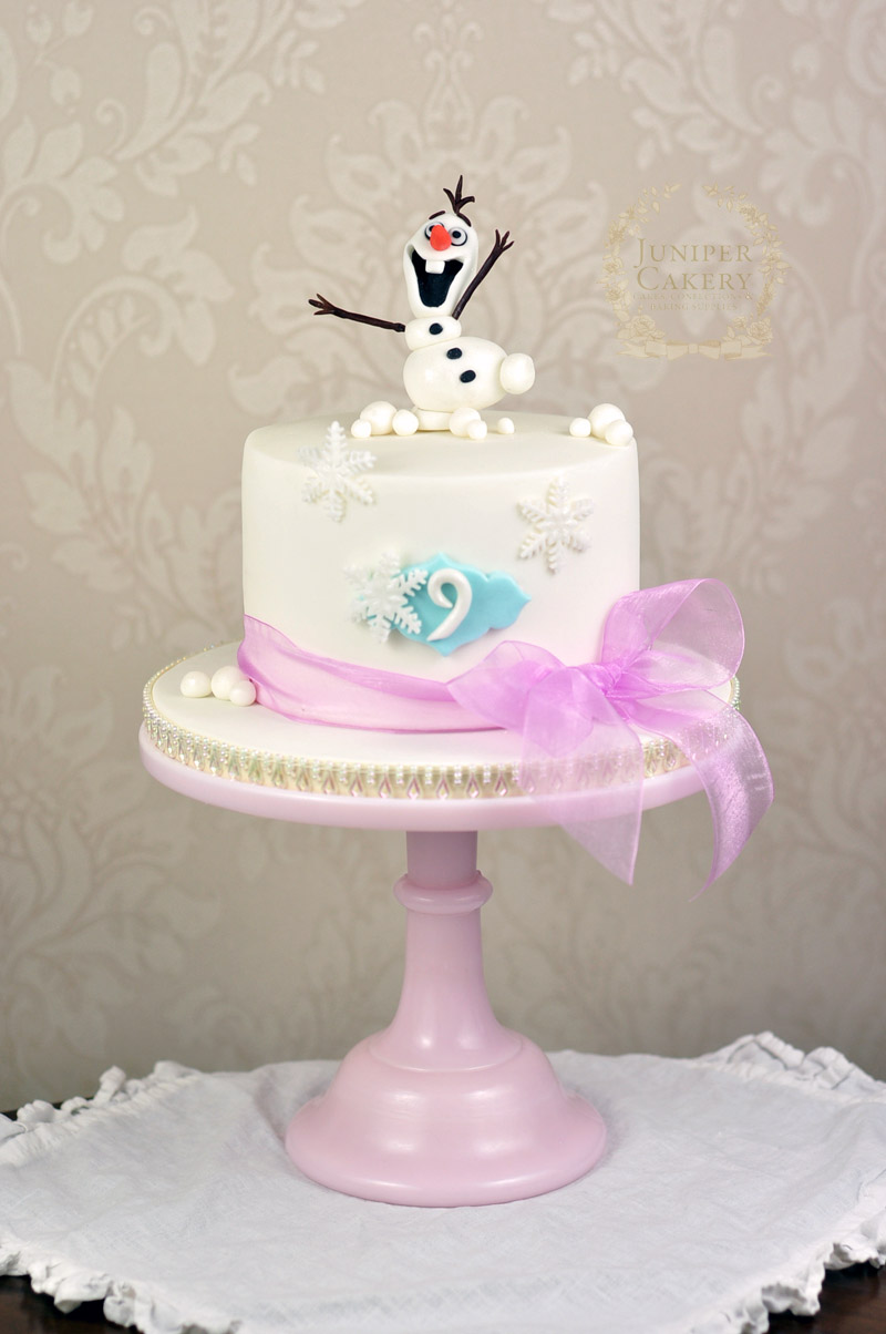 Birthday cake with gum paste Olaf from Frozen by Juniper Cakery
