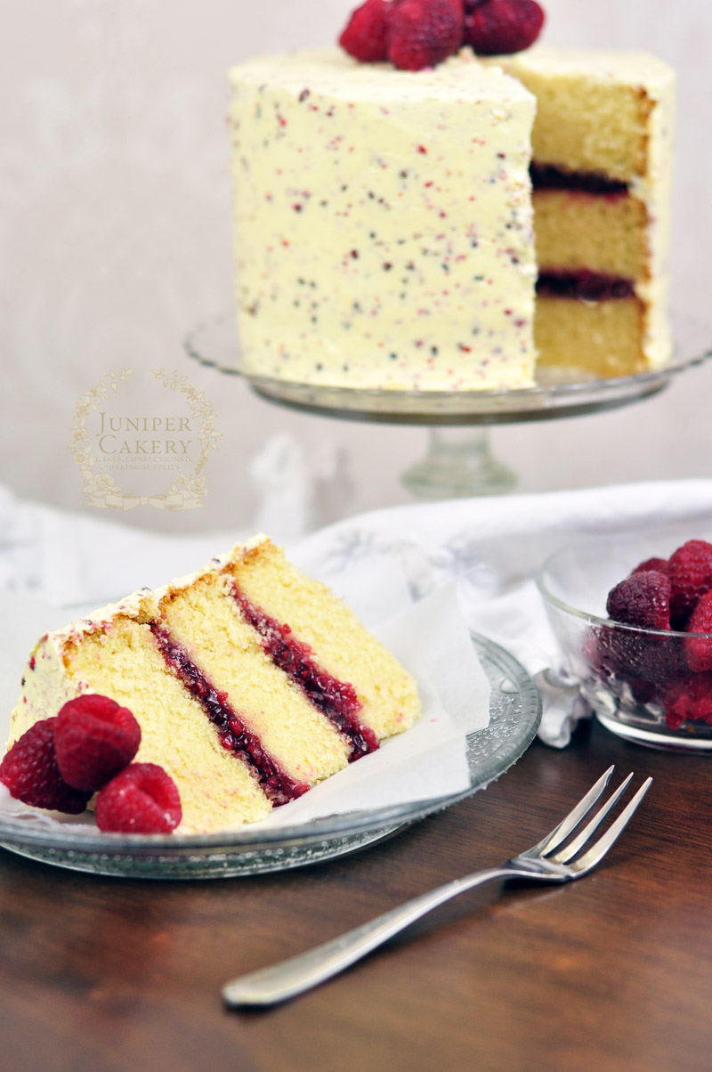 Raspberry, White Chocolate and Pink Peppercorn Cake by Juniper Cakery