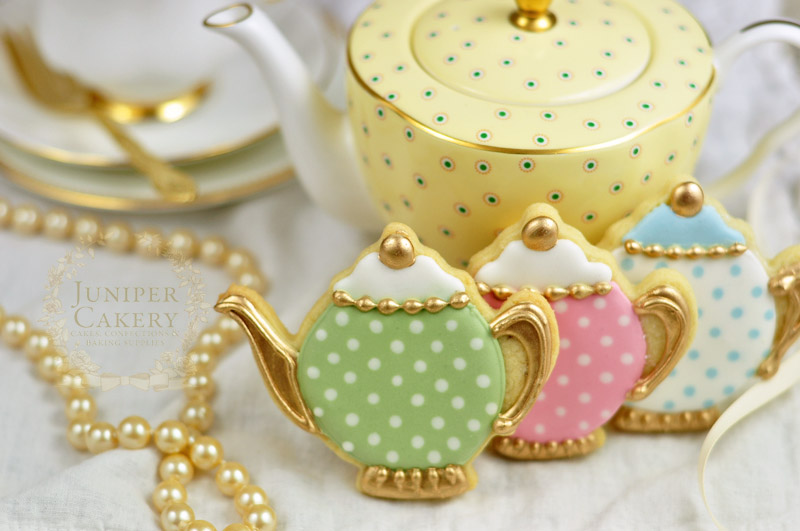 Vintage teapot wedding cookies by Juniper Cakery