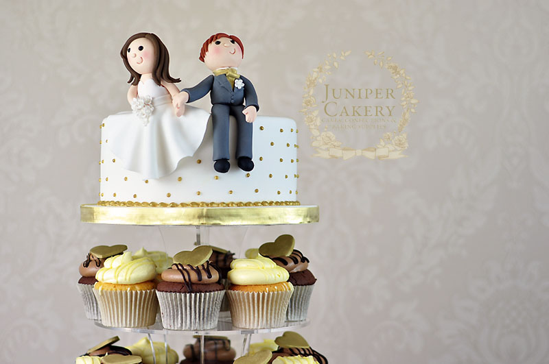 Bride and groom cupcake tower by Juniper Cakery in Kingston-upon-Hull