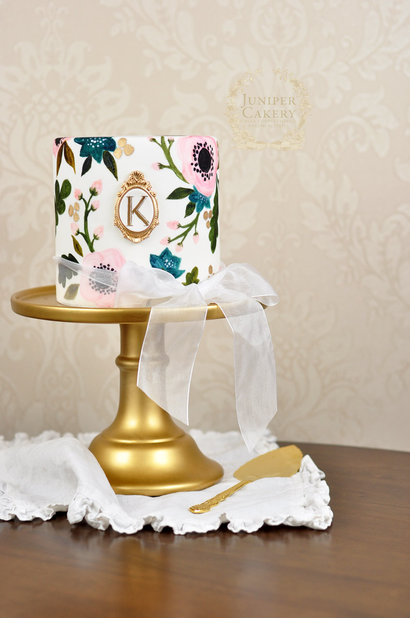 Hand painted floral wedding cake by Juniper Cakery