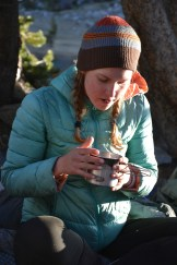For Laina a good breakfast on the trail consists of hot tea.