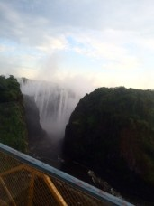 Our first glimpse of Victoria Falls — from the bus window.