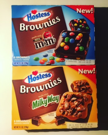 Hostess Brownies made with M&M's; Hostess Brownies made with Milky Way