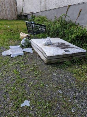 Junk as seen upon arrival. A mattress, a shopping cart, and assorted junk