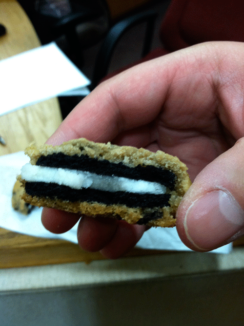 homemade junk food oreos covered in chocolate chip cookie things on