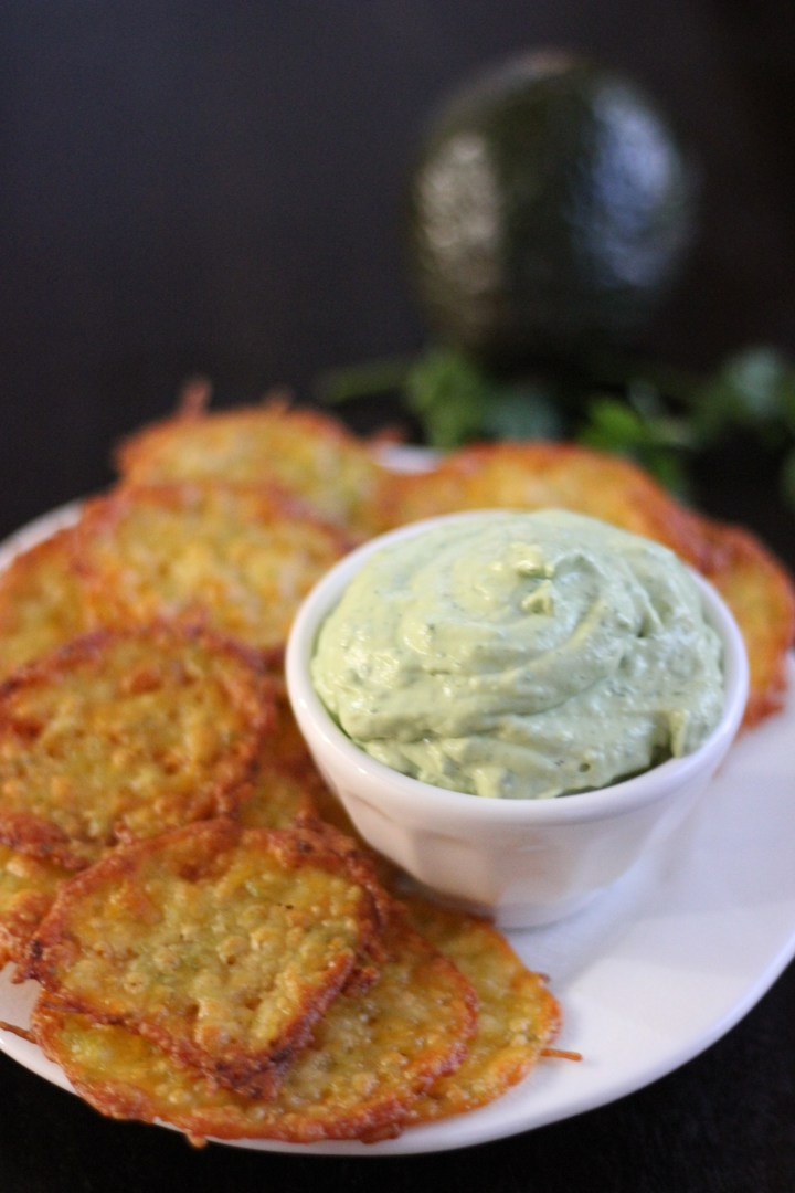 Jalapeño Cheese Crisps with Avocado Dip