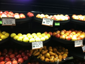 Organic Gala Apples $1.69/lb vs. Regular Gala Apples $1.99/ lb.
